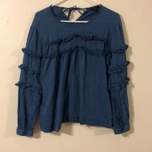 J crew denim colored blouse